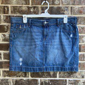 Old Navy Straight Denim Jean Distressed Mini Skirt